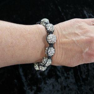 3/$25 Silver/ Black Rhinestone Disco Ball Bracelet